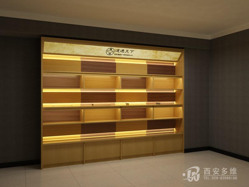 茶叶茶具展示柜设计效果图-西安多维展柜设计公司 品